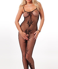 Ouvert-Bodystocking mit floralem Muster