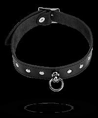 Leder-Halsband mit Flachnieten