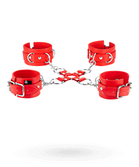 'Leather Hand and Leg Cuffs', 5-tlg.