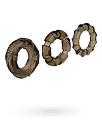 'Stretchy Cock Rings', 3‑teilig, 2,5 ‑ 5,5 cm