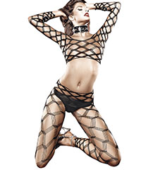 Bodystocking in Diamant-Design, 2‑teilig
