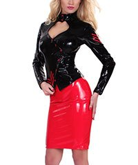 BLEISTIFTROCK IM LATEX-LOOK