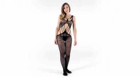 Erotik pur im Bodystocking 'Criss Cross Bodystocking' von Baci Lingerie? EIS weiß wie!