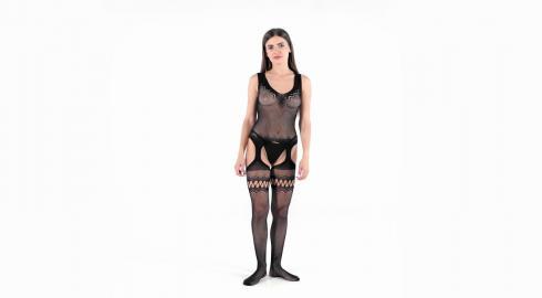 Erotik pur im 'Crotchless Garter Stocking' von Baci Lingerie? EIS weiß wie!