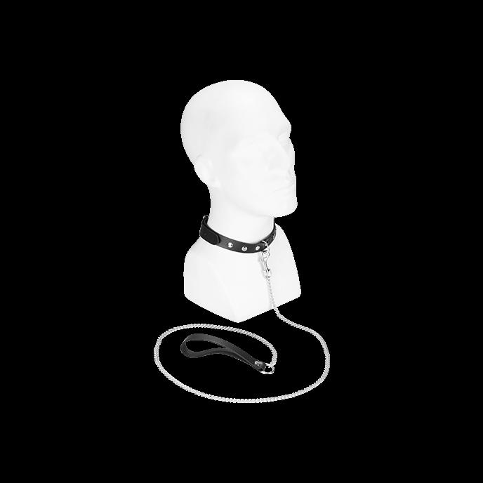 Schmales Halsband mit Leine