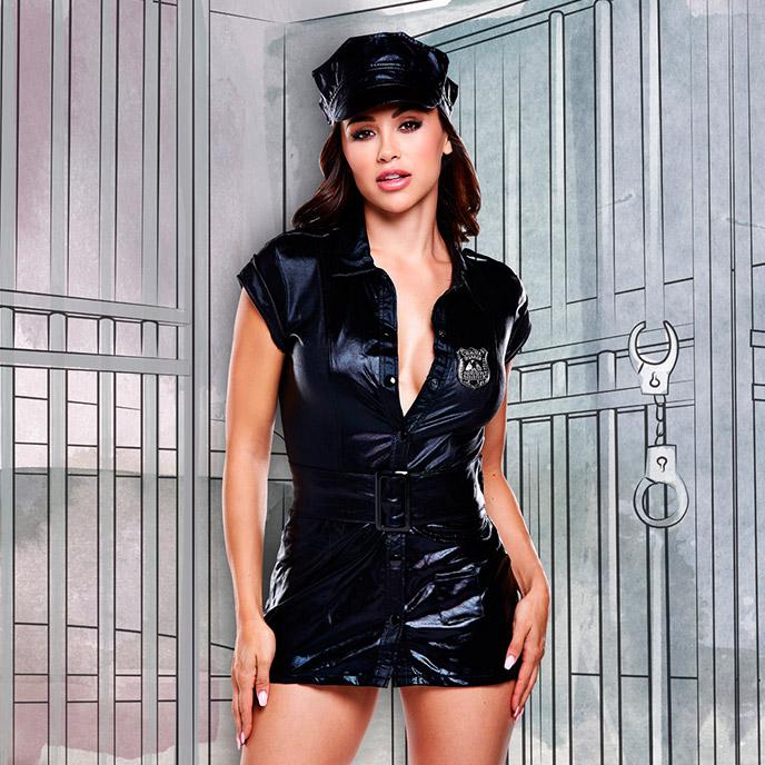 Baci Lingerie Polizei-Uniform in Wet Look, 4 Teile