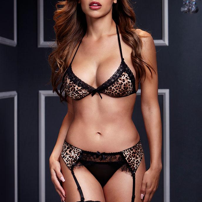 Baci Lingerie Sexy Dessous-Set in Leo-Optik, 3- Teile