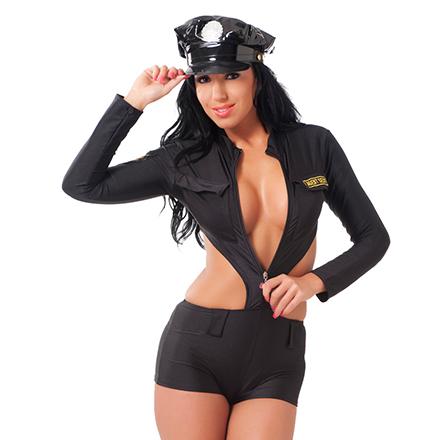 Knappe Polizeiuniform mit Mütze, 2‑tlg.