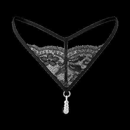 Spitzenstring mit edler Perlenkette
