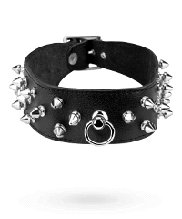 Breites Leder-Halsband mit Killernieten