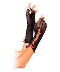 Offene Netz-Handschuhe mit Schnürung
