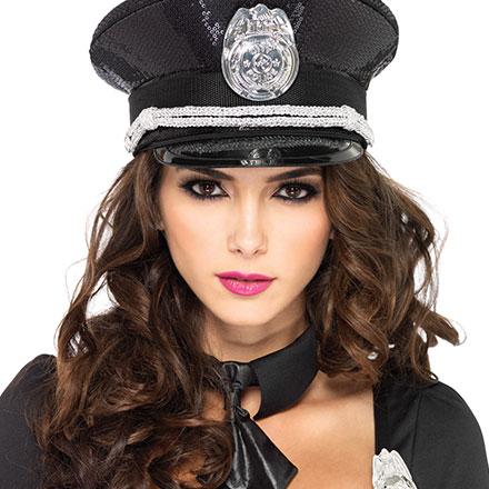Polizei-Hut mit Pailletten