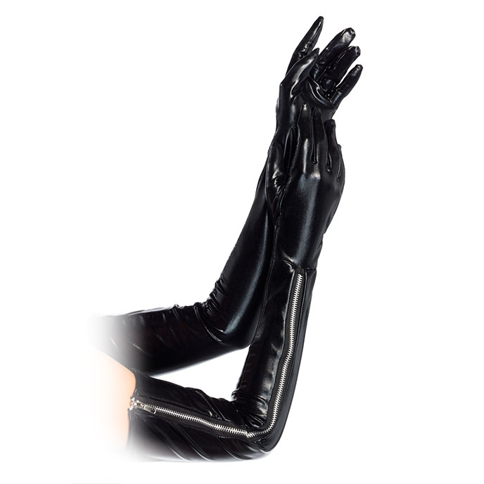 Leg Avenue Lange Wet Look-Handschuhe