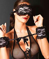 Spitzen-Fessel und Augenmaske, 2teilig