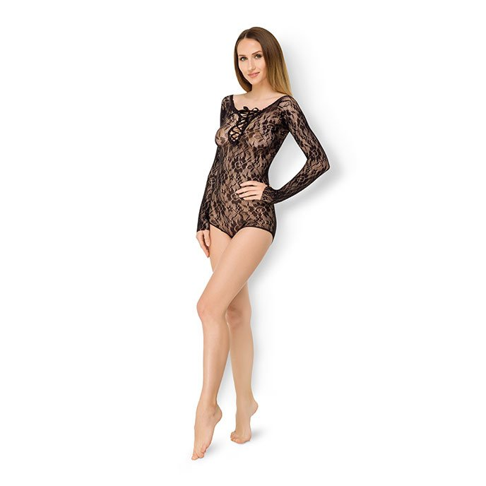 Leg Avenue 'Seamless Romper With Lace Up Front'