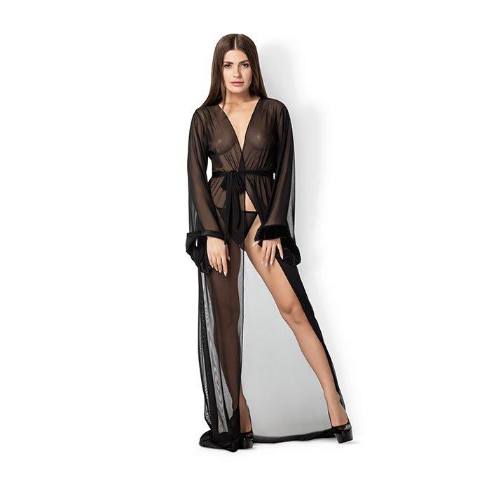 Leg Avenue 'Fur Trimmed Robe', 3 Teile