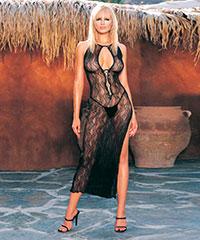 Spitzen-Kleid mit tiefem Dekolleté, 2teilig