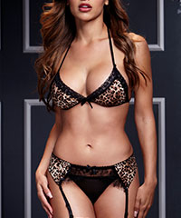 Sexy Dessous-Set in Leo-Optik, 3-tlg.