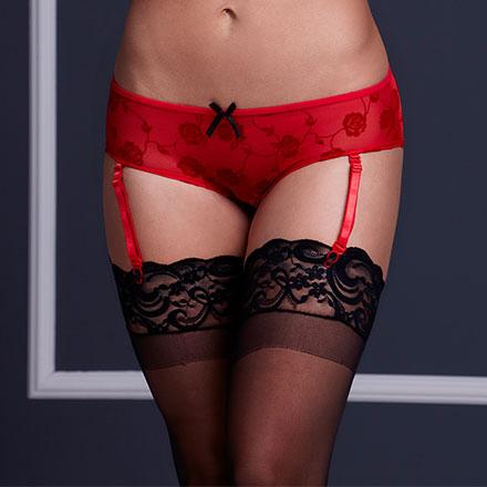 Romantische Panty mit Strumpfhaltern