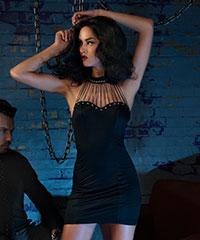 Trägerloses Kleid mit Halsband