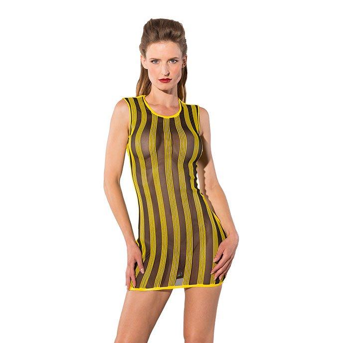 Guilty Pleasure Knappes Kleid mit Latex-Streifen