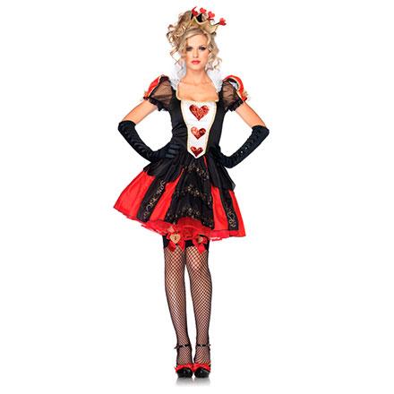 Herz-Königin-Kostüm mit Krone, 2‑teilig