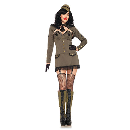 Pin-Up Army-Kostüm, 5‑teilig