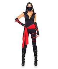 Ninja-Catsuit mit Kapuze, 5teilig
