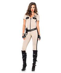 Sexy Deputy-Overall mit Gürtel, 4teilig
