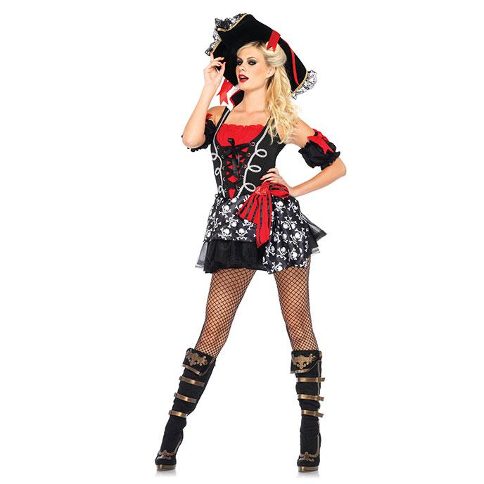 Leg Avenue Piraten-Kostüm mit Schnürung, 2 Teile