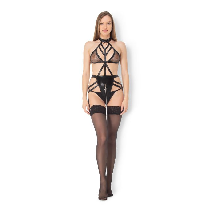 Leg Avenue 'Wet Look Cage Strap Teddy'