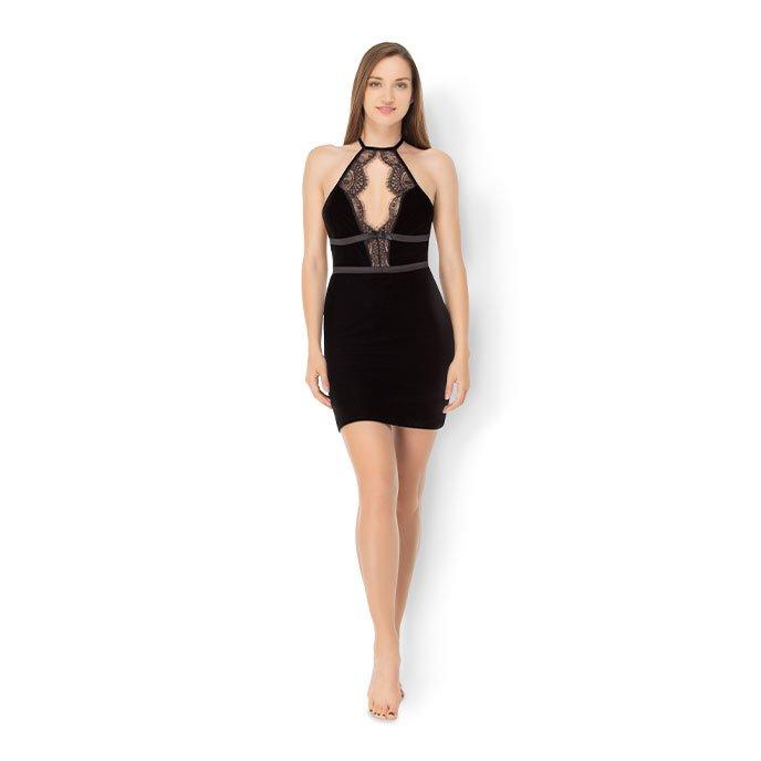 Leg Avenue 'Velvet Backless Halter Mini Dress'