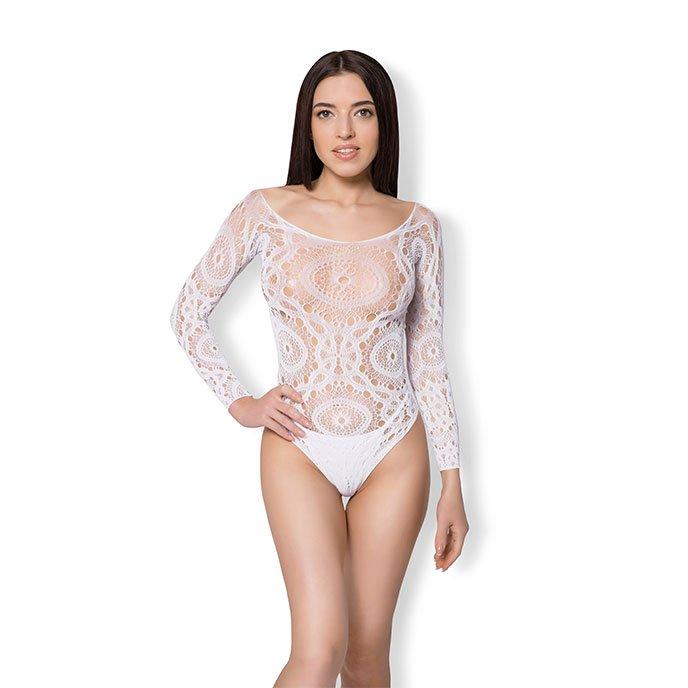 Leg Avenue 'Crochet Lace Long Sleeved Teddy', Gr. M/L