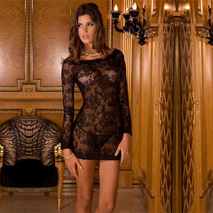 Langärmliges Kleid aus feiner Spitze, 2‑teilig