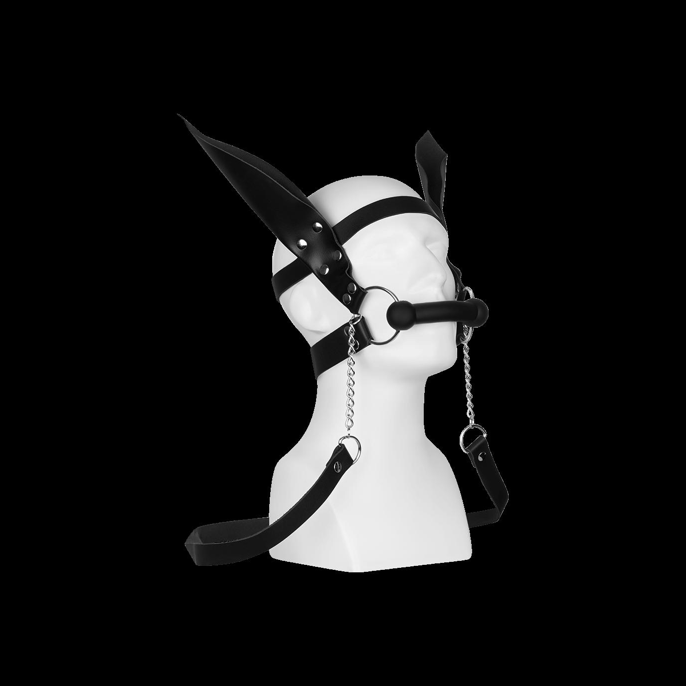 Rimba Silikon-Trense mit Lederzügeln und Ohren, schwarz jetztbilligerkaufen