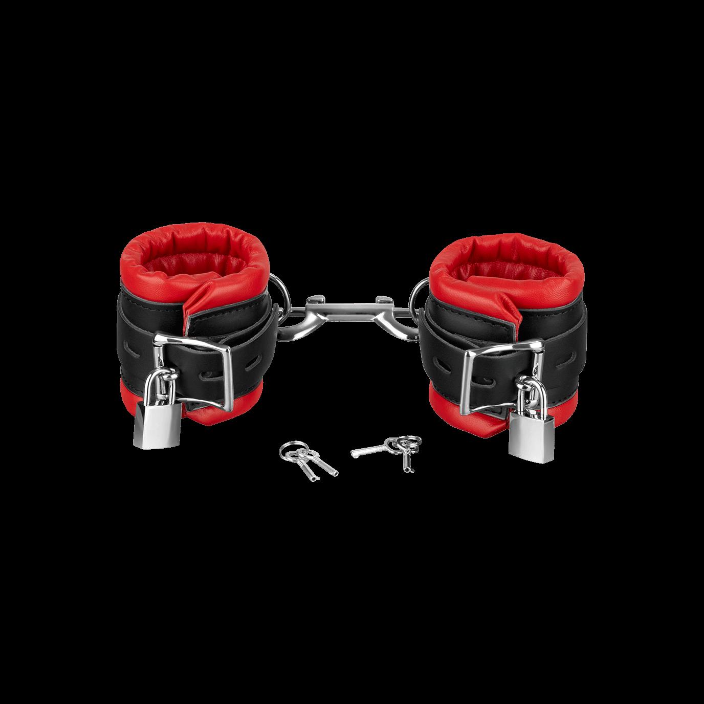 Rimba Leder-Handfesseln gepolstert und abschließbar, rot/schwarz jetztbilligerkaufen