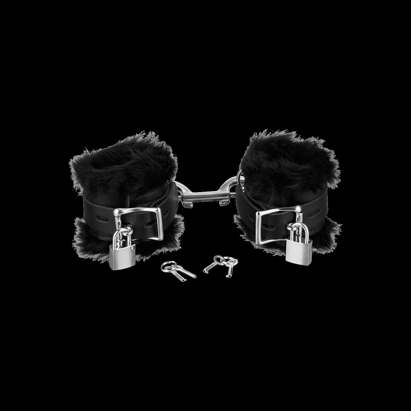 Rimba Leder-Handfesseln mit Plüsch und abschließbar, schwarz jetztbilligerkaufen