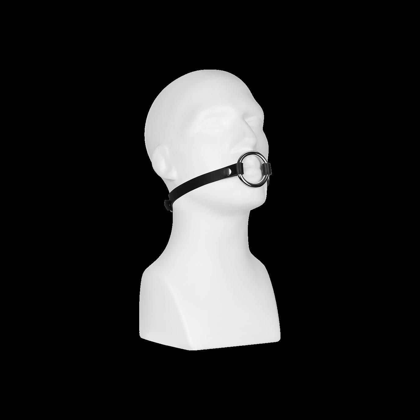 Rimba Leder-Knebel mit Metallring, schwarz jetztbilligerkaufen