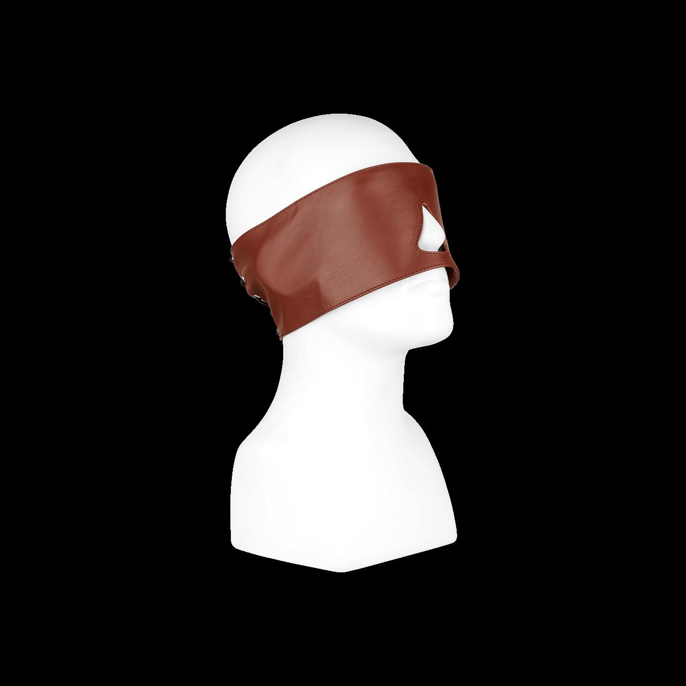 Rimba Leder-Augenmaske mit Schnürung, braun - broschei