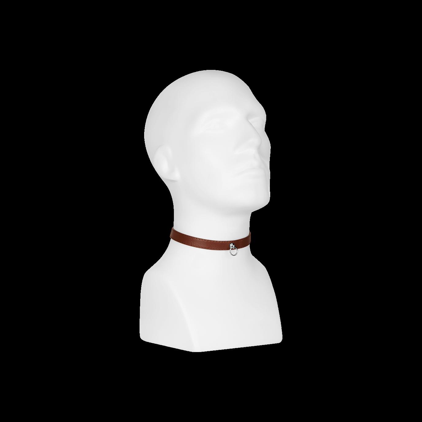 Rimba Leder-Halsfessel schmal mit O-Ring, braun jetztbilligerkaufen